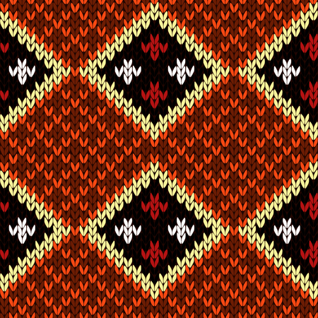 woollen: Rhombus checkered knitted background in white and in warm colors, seamless knitting vector pattern as a fabric texture