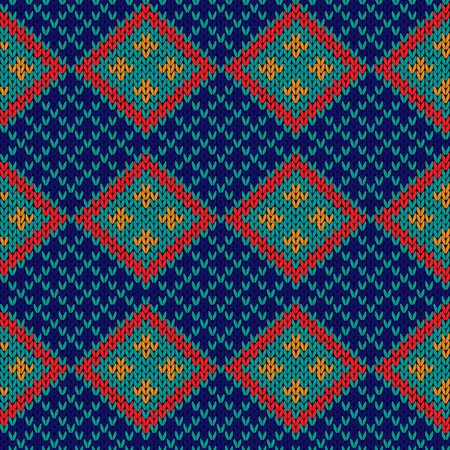 Rhombus checkered knitted background in red, blue, orange and turquoise hues, seamless knitting vector pattern as a fabric texture