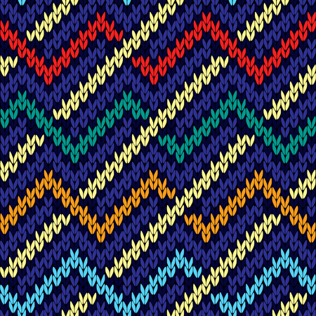 woollen: Knitted wavy multicolor background in red, blue, beige, orange and turquoise colors, seamless knitting vector pattern as a fabric texture