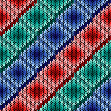Knitted background with rows of rhombus cells of red, turquoise and blue hues, seamless knitting vector pattern as a fabric texture