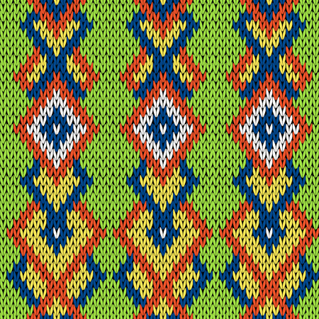 woollen: Knitted background in green, blue, orange, yellow and white colors, seamless knitting vector pattern as a fabric texture Illustration