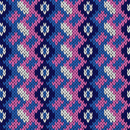 hues: Knitted background with vertical ornate rows in blue, white and light magenta hues, seamless knitting vector pattern as a fabric texture Illustration
