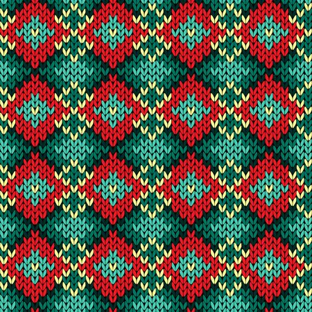 hues: Knitted background with rhombus ornate rows in red, green, yellow and turquoise hues, seamless knitting vector pattern as a fabric texture