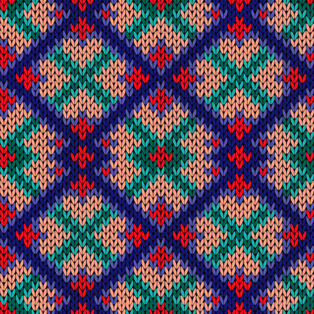Knitted background with colorful rhombus ornament in red, beige, blue and turquoise hues, seamless knitting vector pattern as a fabric texture Illustration
