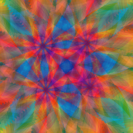 Abstract stylized multicolor kaleidoscopic pattern with spectrum colors, vector artwork