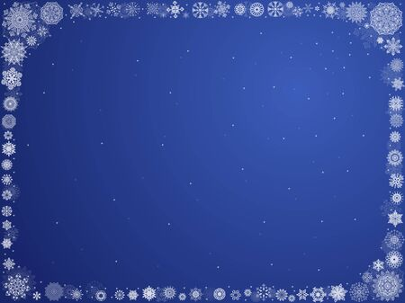 framed: Christmas blue background with lot of ornate white snowflakes framed around, vector illustration