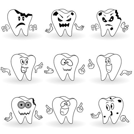 Set of nine characters of amusing cartoon teeth with various face grimaces and with hand gesticulating, vector illustrations
