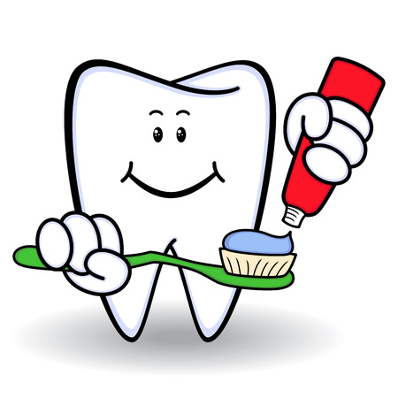 Amusing healthy cartoon tooth with smiling face and with toothbrush and toothpaste in hands, color vector illustration