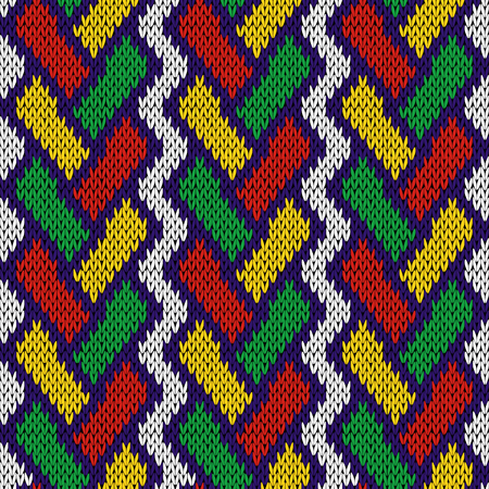 Intertwining geometric lines in red, green, yellow and blue colors over white background, seamless knitting vector pattern as a fabric texture Illustration