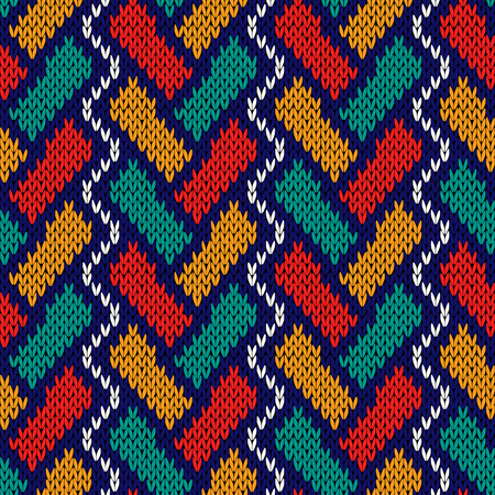 intertwine: Intertwining geometric lines in red, turquoise, orange, blue and white colors, seamless knitting vector pattern as a fabric texture