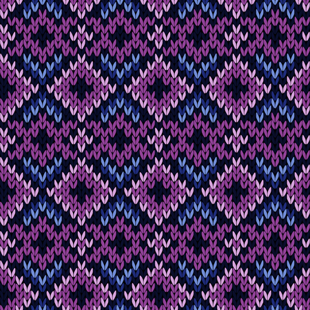Geometrical ornate knitted seamless vector pattern as a fabric texture in purple and blue hues Illustration
