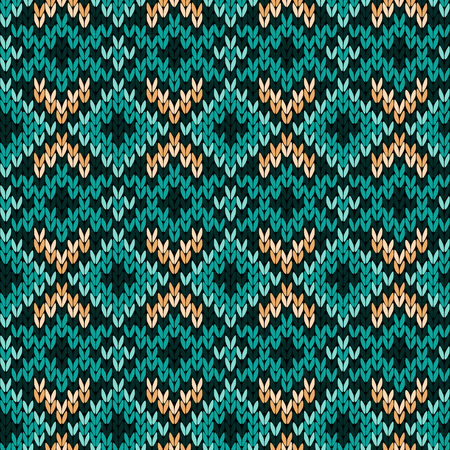 Geometrical ornate knitted seamless vector pattern as a fabric texture in turquoise, green and beige hues