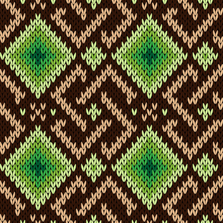 Ornamental geometric seamless knitted vector pattern as a fabric texture in brown, green and beige hues Illustration