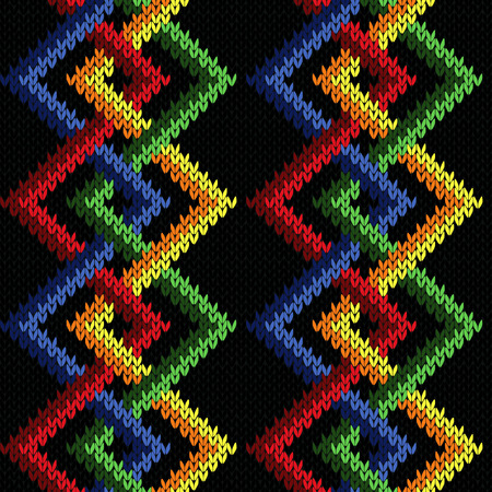 Intertwining geometric lines in red, green, yellow, orange and blue colors over black background, seamless knitting vector pattern as a fabric texture Illustration
