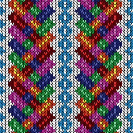 Multicolor ornate seamless knitted vector pattern as a fabric texture Illustration