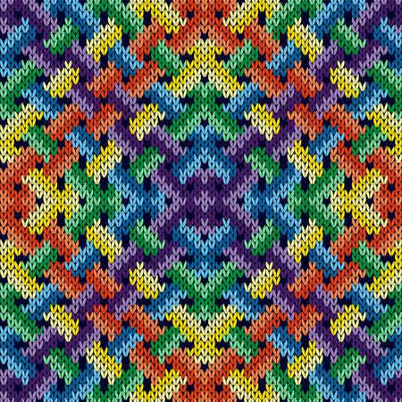 Intertwining multicolor geometric lines formed a seamless vector knitting pattern as fabric texture