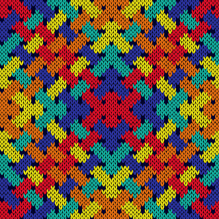 interlace: Intertwining stripes formed a seamless vector patchwork knitting pattern as fabric texture in vivid colors