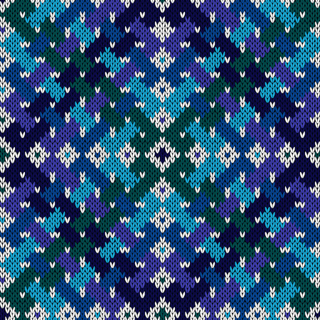 Intertwining stripes formed a seamless vector knitting pattern as fabric texture in cool hues Illustration