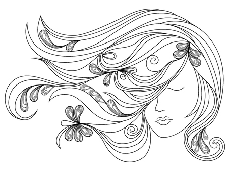 wig: Beautiful female head with long adorned flowing hair, vector outline