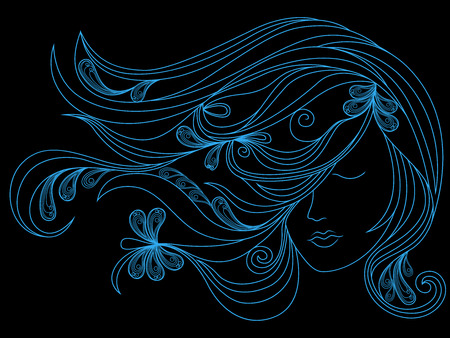 Beautiful female head with long adorned flowing hair, blue vector outline isolated on the black background