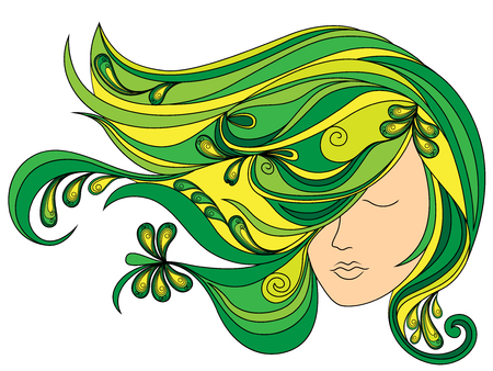 Beautiful female head with long adorned flowing green hair, vector illustration