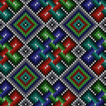Seamless knitted ornate ethnic pattern as a fabric texture in blue, green, turquoise, white and red colors Illustration