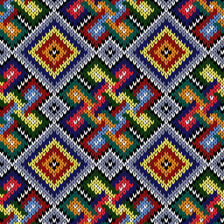 Seamless knitted colordul ornate ethnic vector pattern as a fabric texture