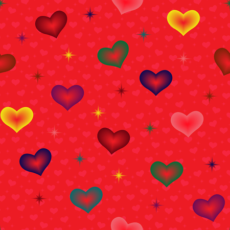 Colourful hearts and stars on the red background with many small pink hearts, seamless Valentine vector pattern