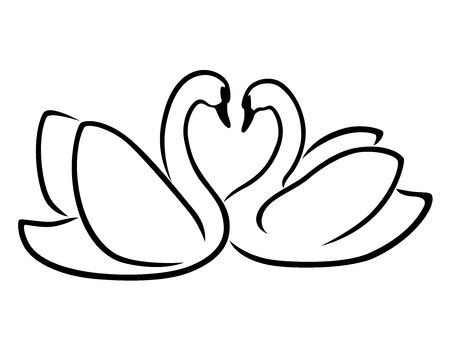 Loving couple of swans, stylized Valentine vector outline Illustration