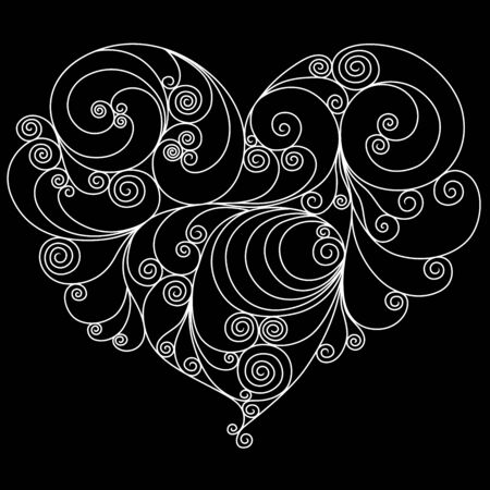 White floral heart outline isolated on the black background, Valentine vector illustration