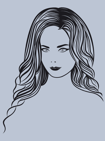Attractive young beautiful lady portrait on the greyish background, vector outline