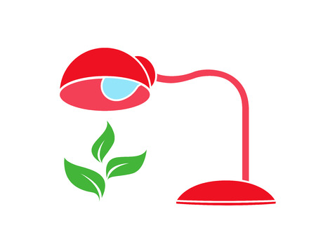 Red table lamp warms and illuminates a green plant, vector icon logo, ecological concept