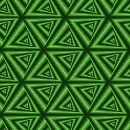 tunnel vision: Creative abstract seamless vector pattern with concentric triangle shapes forming the whirling sequences in many green hues