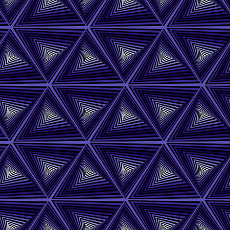 sequences: Creative abstract seamless vector pattern with concentric triangle shapes forming whirling sequences in dark blue hues Illustration