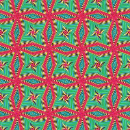 Illustration of seamless vector pattern with rotating colourful shapes