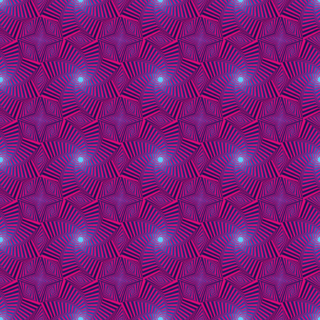 sequences: Pattern with concentric octagonal stars forming the whirling sequences in blue and pink hues