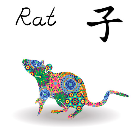 Chinese Zodiac Sign Rat, Fixed Element Water, symbol of New Year on the Eastern calendar, hand drawn vector stencil with color geometric motley flowers isolated on a white background