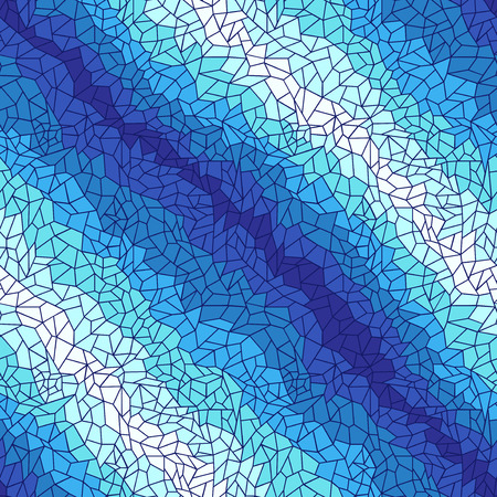 Lacy geometric seamless vector pattern in blue and white hues, blue lines forming the polygons