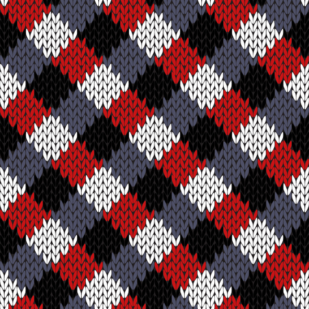 Knitted seamless vector pattern in black, white, grey and red colors with quadratic elements as a fabric texture