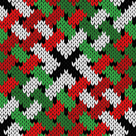 Interlaced knitting seamless vector pattern in green, white, red and black colors as a fabric texture