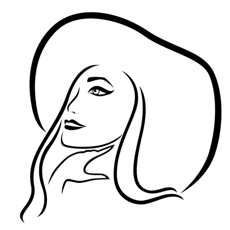 Dreamy young beautiful cowboy girl in the wide-brimmed hat, vector outline Illustration