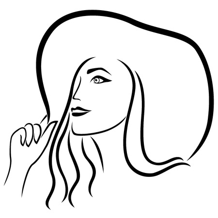 snění: Dreamy beautiful young lady in the wide-brimmed hat, outline