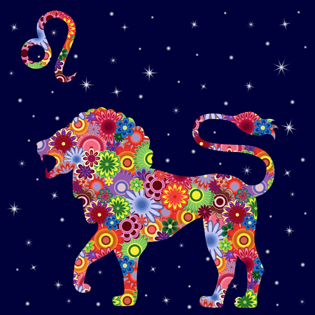 Zodiac sign Leo with colorful flowers fill, on a dark blue starry sky background. vector illustration