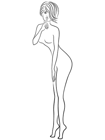 Abstract attractive young slim lady in mishap and gesticulated with her finger at lips, hand drawn vector outline