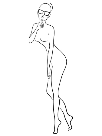 nudist young: Abstract attractive slender women in glasses gesticulated with her finger at lips, hand drown vector outline
