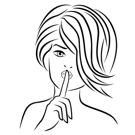 Abstract young girl gesticulated with her finger at lips, hand drawn vector outline