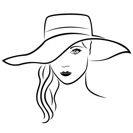 Beautiful young lady in wide-brimmed hat, hand drawing vector outline