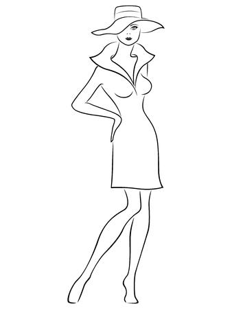 Atractiva graciosa hermosa dama joven de pie y posando en vestido corto y en el sombrero de ala ancha, la mano se ahogan vector de contorno