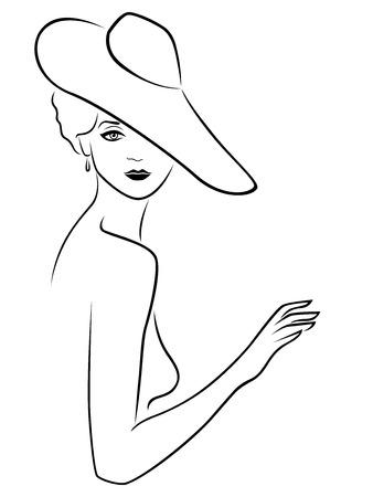 Atractiva graciosa hermosa joven dama posando media vuelta en el sombrero de ala ancha, la mano se ahogan vector de contorno