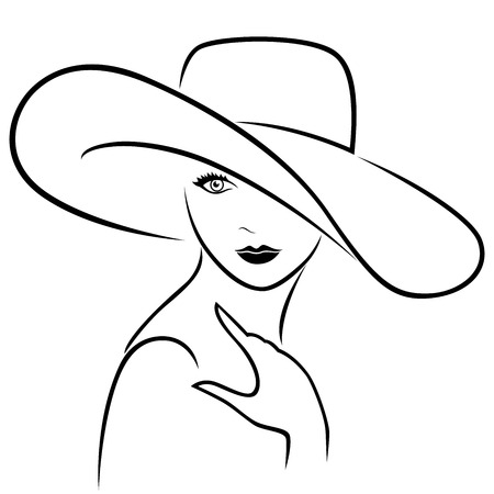 Attractive graceful young beautiful girl posing half-turn in wide-brimmed hat, hand drown vector outline Illustration
